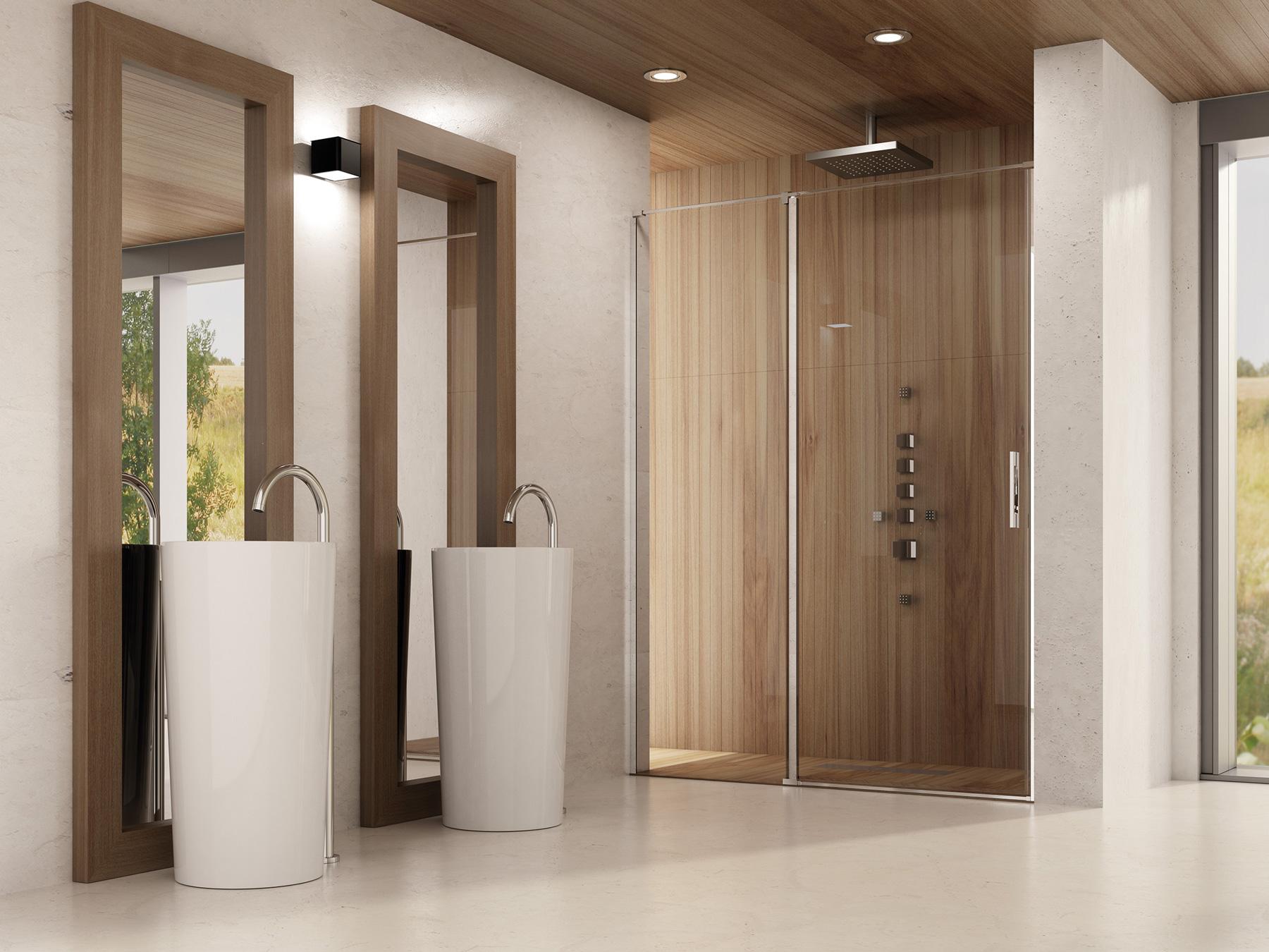Mamparas de baño con apertura batiente.