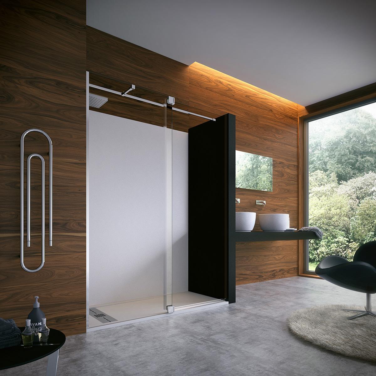 mampara de ducha con puerta solapada