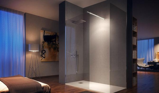 ducha en el dormitorio