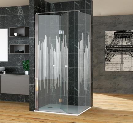 Mampara de baño a medida con puerta batiente
