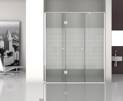 Mampara con vidrio de seguridad decorado