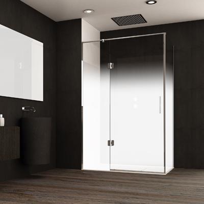Mampara esquinera transparente de puerta batiente transparente