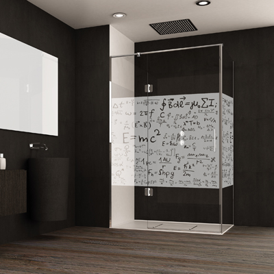 Mampara con motivos matemáticos para ducha