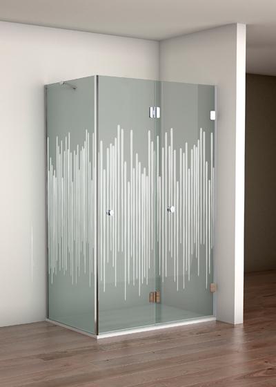 Mampara de puerta solapada en vidrio decorado