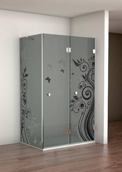 Mampara esquinera de vidrio gris decorado