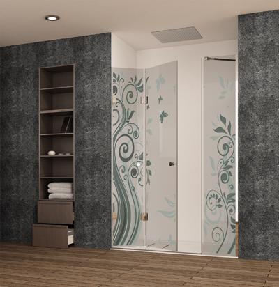 Mampara para ducha de puertas plegables