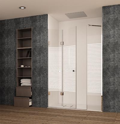 Diseño de mampara standard con puertas abatibles