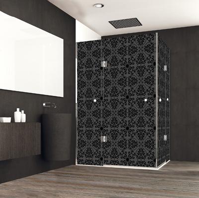 Mampara para ducha de vidrio negro decorado